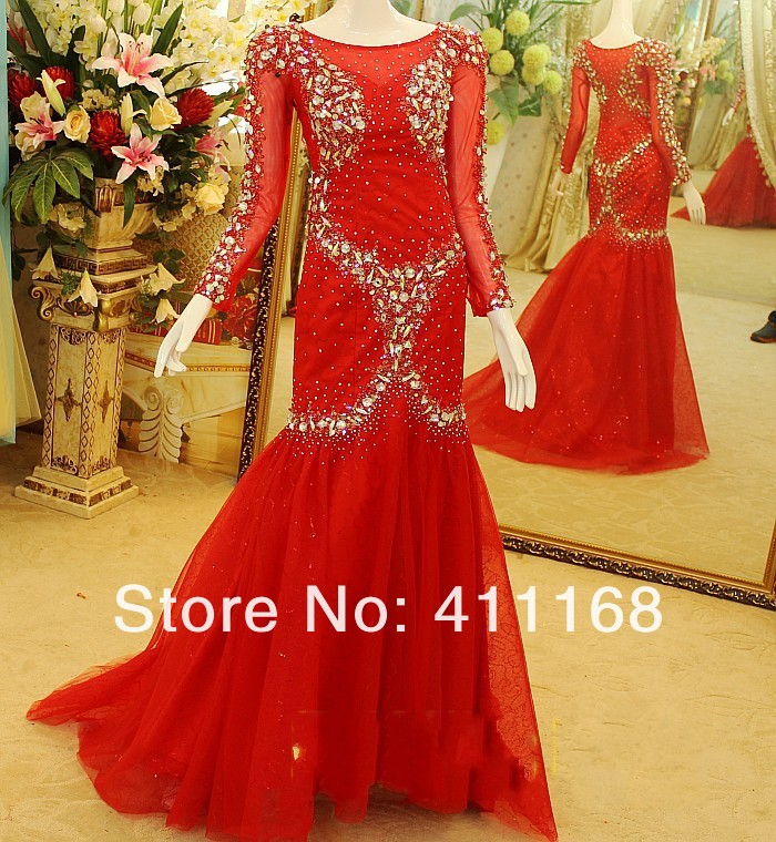 Wholesale   2013 zuhair Murad Sheath Mermaid Tulel Beading Rhinestones Tulle evening dresses with sleeves-in Evening Dresses from Apparel & Accessories on Aliexpress.com