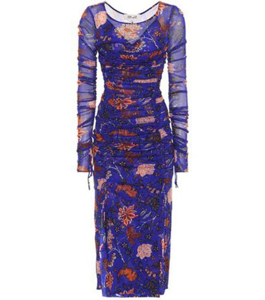 Diane Von Furstenberg dress mesh dress mesh floral blue
