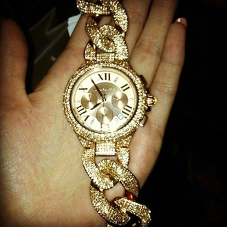 jewels gold sparkly diamonds armcandy watch chain twisted