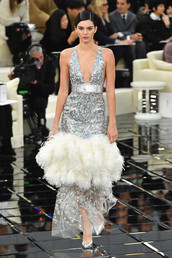 dress,silver,feathers,feather dress,haute couture,fashion week 2017,runway,kendall jenner,chanel,kardashians,belt,gown,prom dress,wedding dress,sparkly dress,fashion week