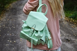 bag backpack fashion leather mint pretty style