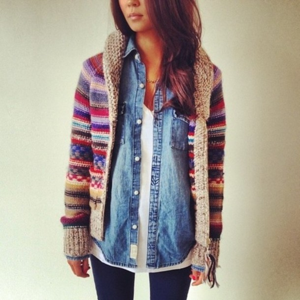 shirt knit denim shirt sweater layers white t-shirt coat aztec girl cool warm jacket oversized cardigan stripes jeans shirt wollen red blue knitted sweater sipper colorful cardigan cardigan tribal pattern colorful knitwear patterend stripes warm and cozy lovely colorful sweater fall outfits multicolor multicolored sweater multicolored cardigan comfy multicolor striped cardigan fair isle fair isle sweater knitted sweater hoodie knit hoodie knitted hoodie sweater coat knitted coat zip
