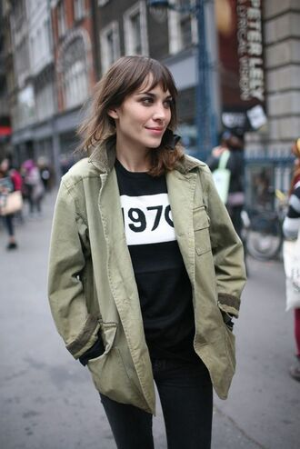 sweater alexa chung celebrity bella freud black sweater pants black pants coat green coat fall outfits