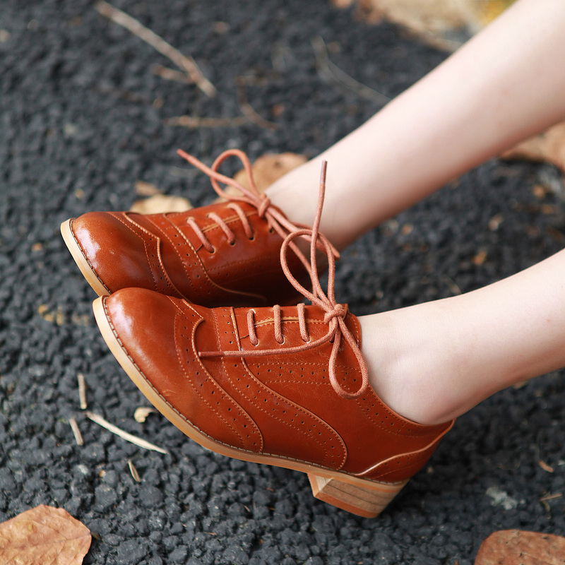 Chic Oxford  Flat Shoe Women Vintage Shoes Preppy Style Oxfords Low Flats Heels Black Brown Beige PU Leather Woman Shoes Size 40-inFlats from Shoes on Aliexpress.com