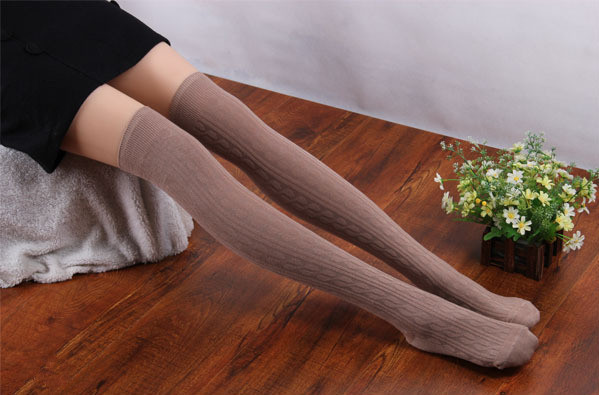 2014 new fashion striped women thigh high stockings knee hose for spring seven colors for choose