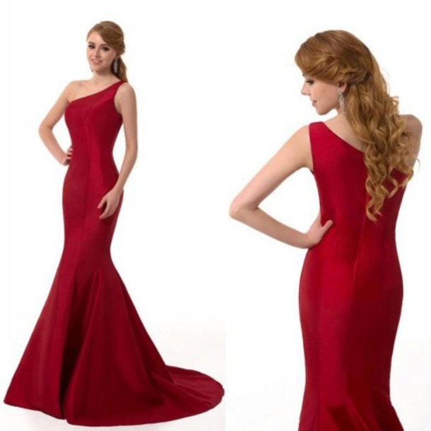dress prom dress one shoulder prom dress mermaid prom dress red prom dress satin prom dress