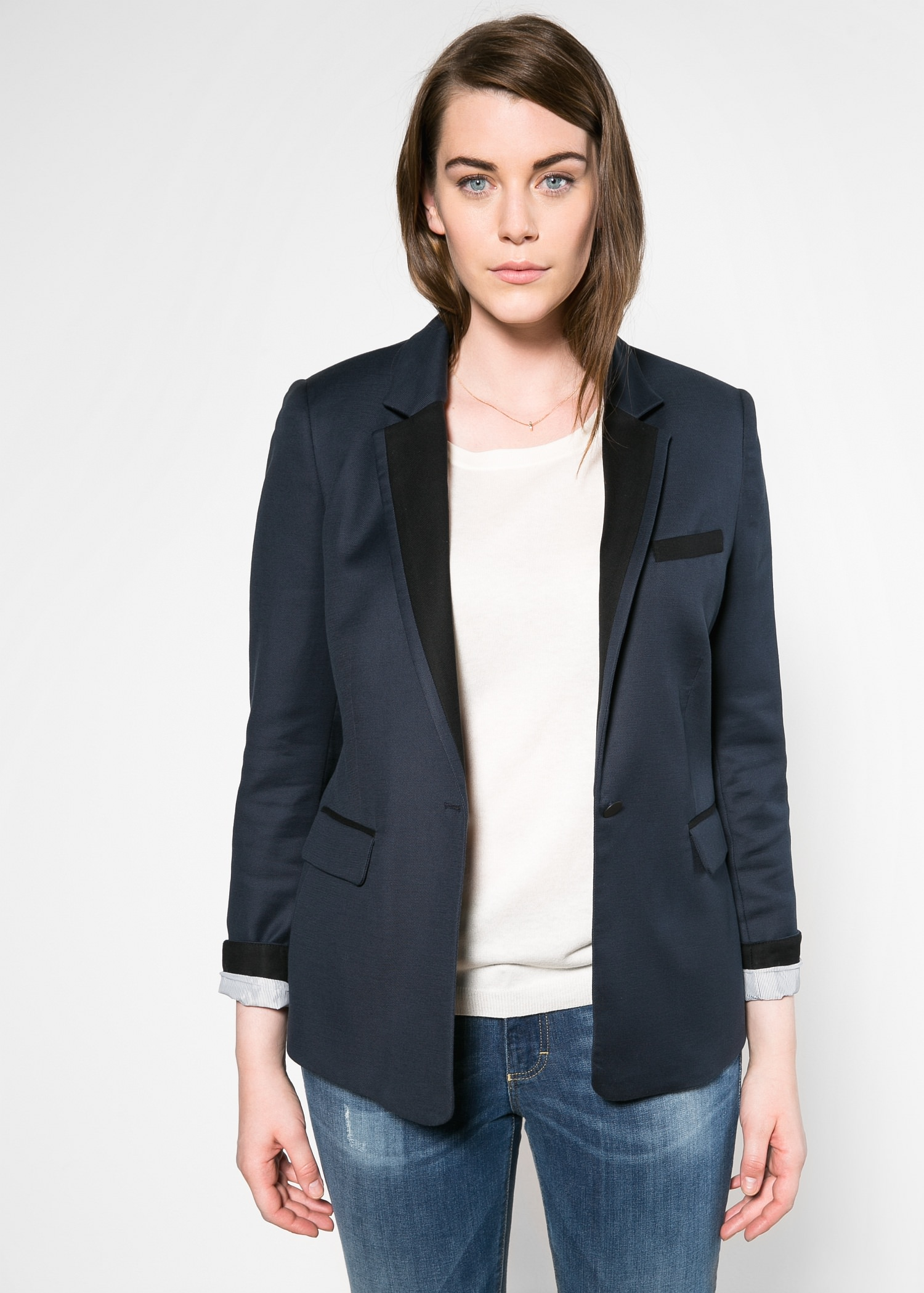 Bicolor structured blazer - Violeta | VIOLETA BY MANGO