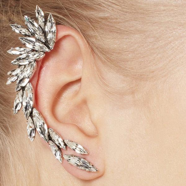 ae97a56b75465 Gorgeous Silver Spike Crystal Gem Stone Flower Ear Cuff Stud Earring Punk  Celebs | eBay