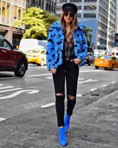 jacket,hat,tumblr,blue jacket,faux fur jacket,boots,blue boots,ankle boots,denim,jeans,black jeans,ripped jeans,fisherman cap,shoes
