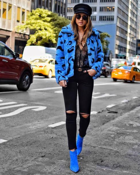 jacket hat tumblr blue jacket faux fur jacket boots blue boots ankle boots denim jeans black jeans ripped jeans fisherman cap shoes