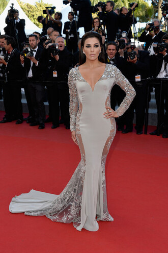 dress gown prom dress eva longoria cannes red carpet dress grey dress