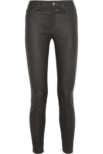 pants skinny pants leather black