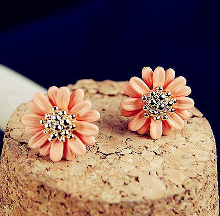 [grxjy530032]Orange Flower Earrings on Luulla