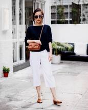 pants,tumblr,white pants,cropped pants,work outfits,office outfits,shoes,loafers,sweater,black sweater,bag,crossbody bag