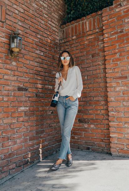blouse tumblr white blouse denim jeans blue jeans shoes bag sunglasses mirrored sunglasses
