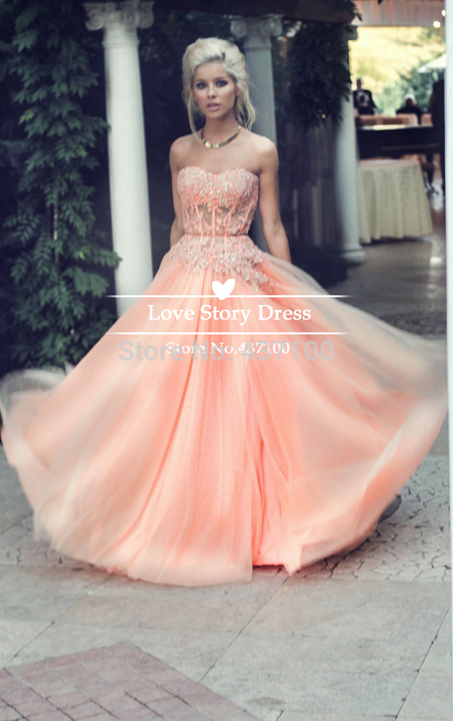 Aliexpress.com : buy beautiful coral peach long prom dresses 2015 strapless beaded lace appliques maxi plus size evening party dress abendkleider from reliable dress unique suppliers on suzhou lovestory dress store