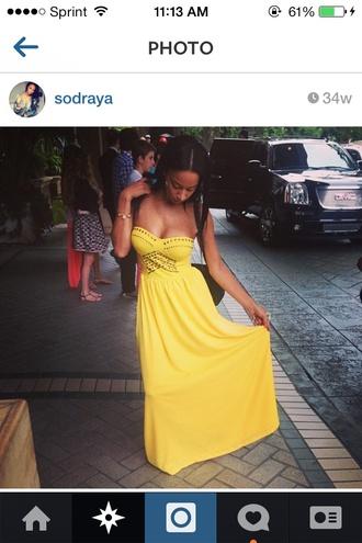 dress yellow sundress maxi dress strapless draya michele
