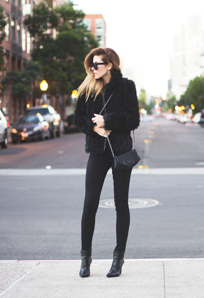 black coat bag small leather bag black pants black sunglasses boots