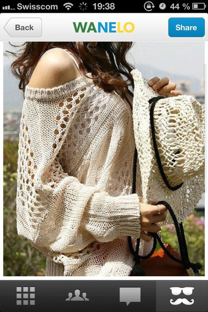 Sweater: beige, white, summer, holes, cool, yolo, hot, cute, large ...