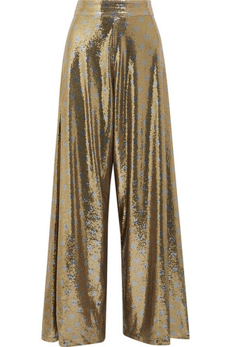 pants wide-leg pants mesh gold