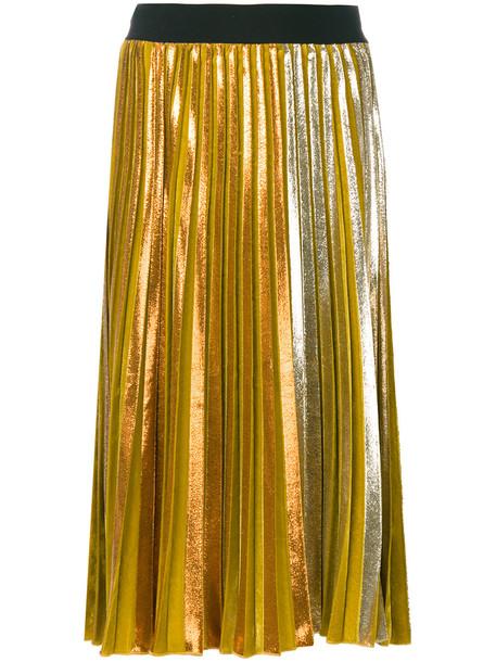 Nude mid-length pleated skirt - Yellow & Orange