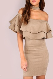 dress,girly,suede,brown dress,nude,nude dress,bodycon dress,off the shoulder