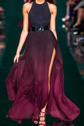 dress purple wedding fashion chic wine maxi dress long dress side split maxi dress sleeveless bridesmaid high split dress