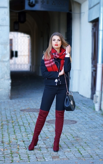 a piece of anna blogger burgundy shoes suede boots fall outfits tartan scarf knee high boots