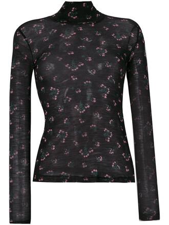 sweater women floral print black wool