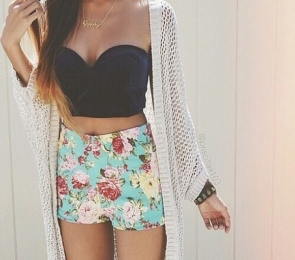 shorts bustier crop tops floral floral shorts knitted cardigan cardigan