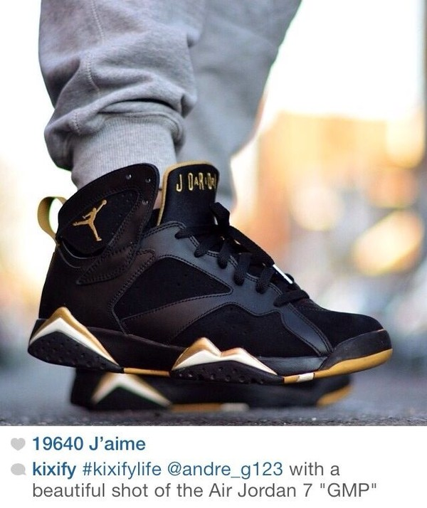 shoes golden shoes jordans air jordans 7 black jordans black gold white