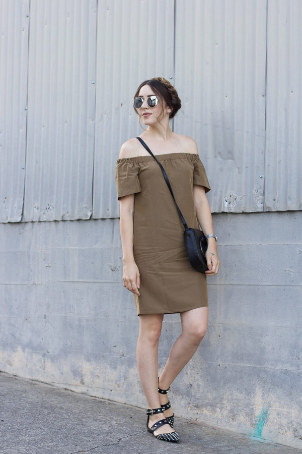 dress tumblr off the shoulder off the shoulder dress brown brown dress mini dress flats black flats shoes