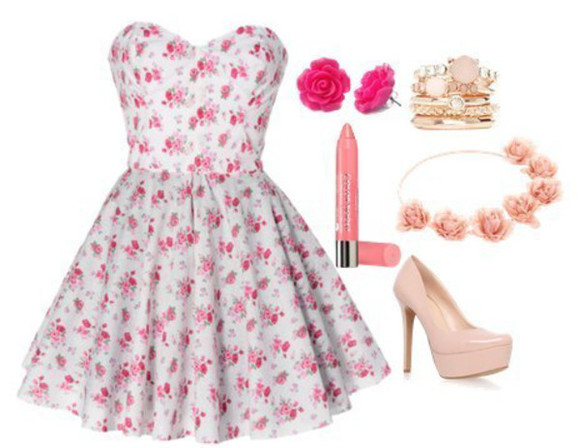 floral vintage summer pink dress flowers pretty pink dress hot earrings nice rose