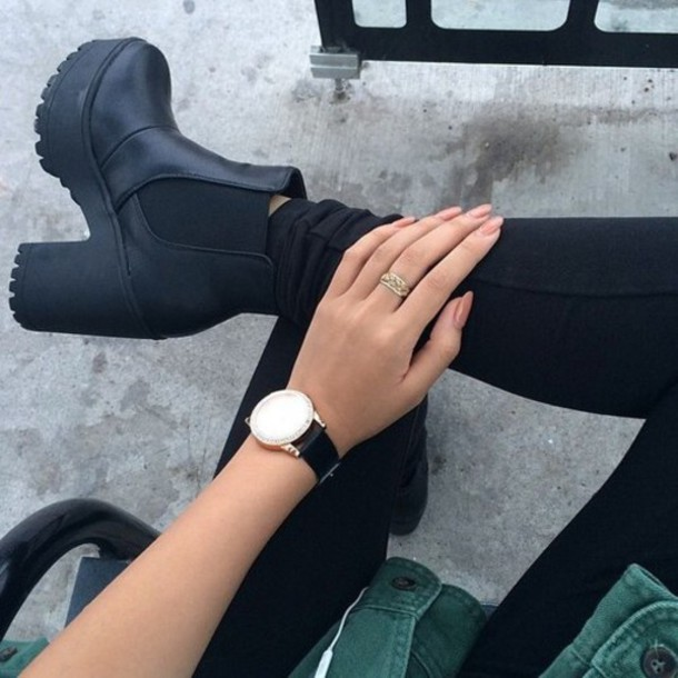 black boots thick heel black leggings leggings watch shoes boots winter boots black platform shoes style fashion