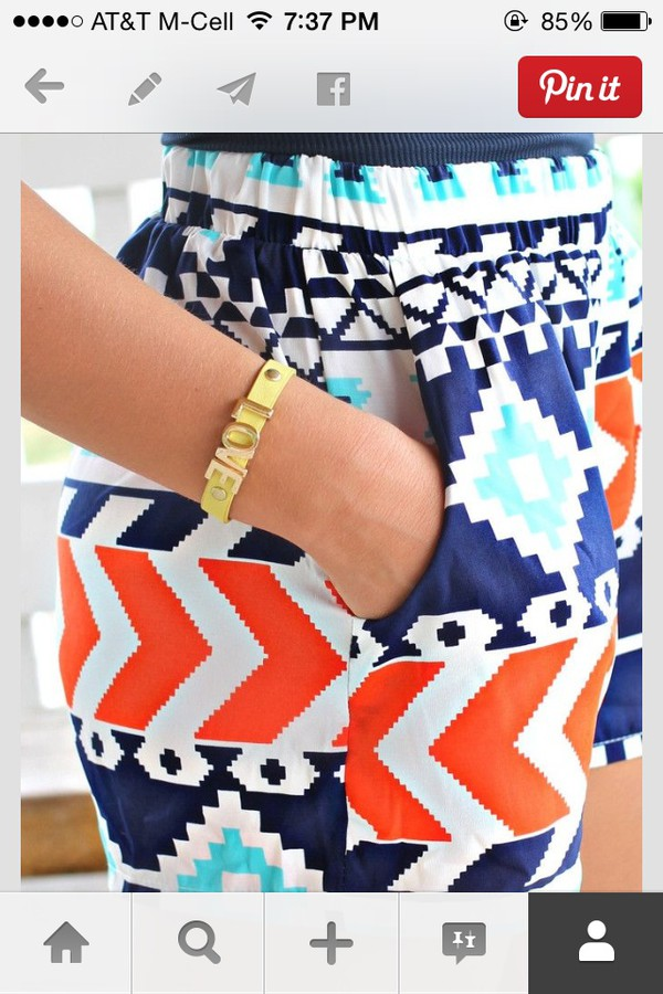 shorts skirt tribal pattern