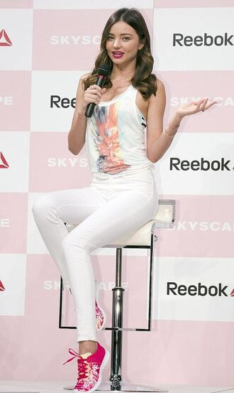 top sneakers miranda kerr white pink tank top shoes