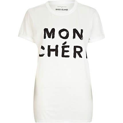 White Mon Cheri print oversized t-shirt - t-shirts / tanks / sweats - sale - women