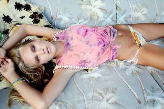 tank top pink summer tie dye shell clothes swimwear