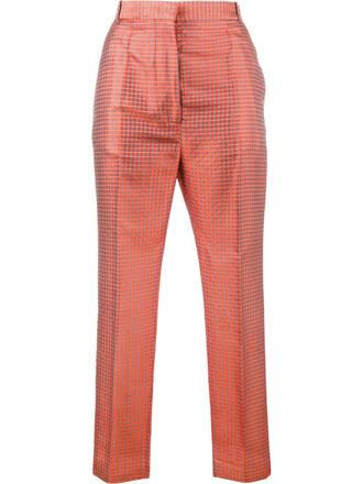 cropped women jacquard cotton silk yellow orange pants