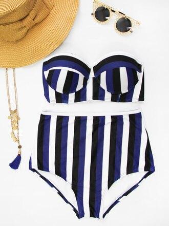 swimwear bikini stripes fashion style blue white trendy high waisted gamiss summer strapless