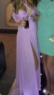 dress,liliac purple evening sexy split prom