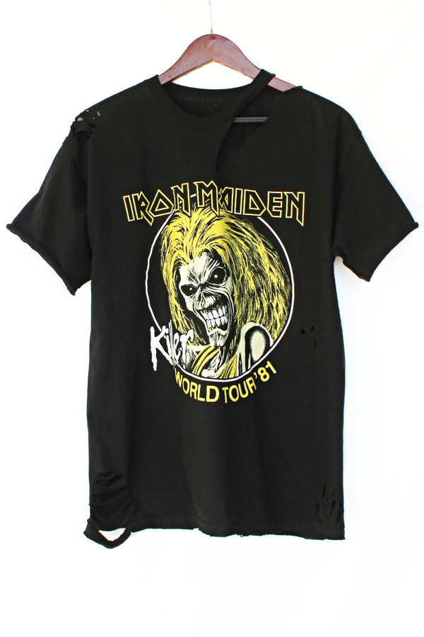 t-shirt justvu.com iron maiden heavy metal band t-shirt clothes 80s style 80s style zombie mens t-shirt
