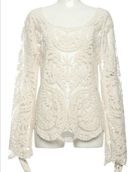 Outletpad | Lace Embroidered crochet Casual shirt blouse tops blusas Long sleeve White | Online Store Powered by Storenvy