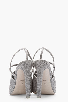 Alexander Wang Grey Wool Slingback Maryna Sandals for women | SSENSE