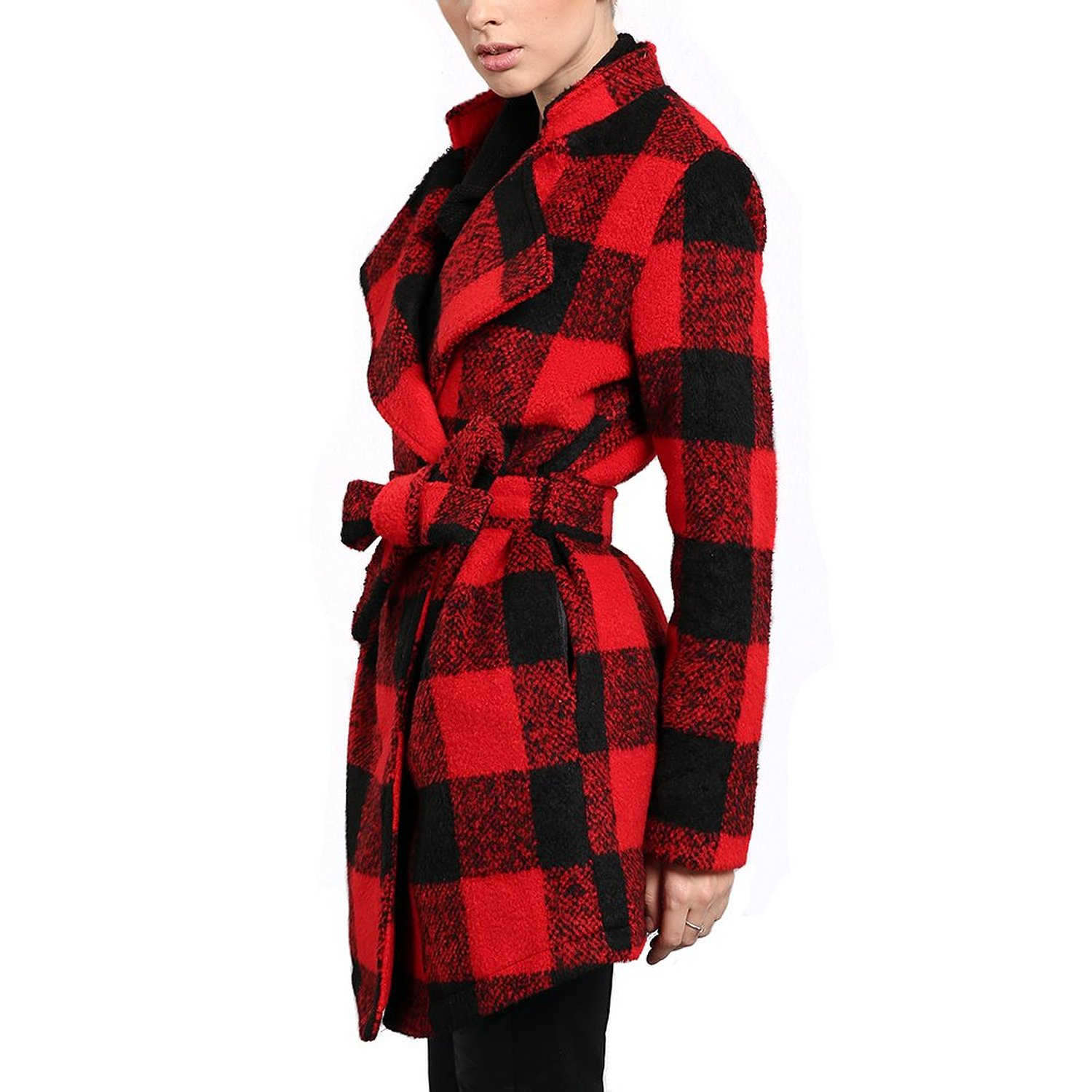 Women Check Plaid Duffle Double Breasted Button Pea Coat Jacket ...