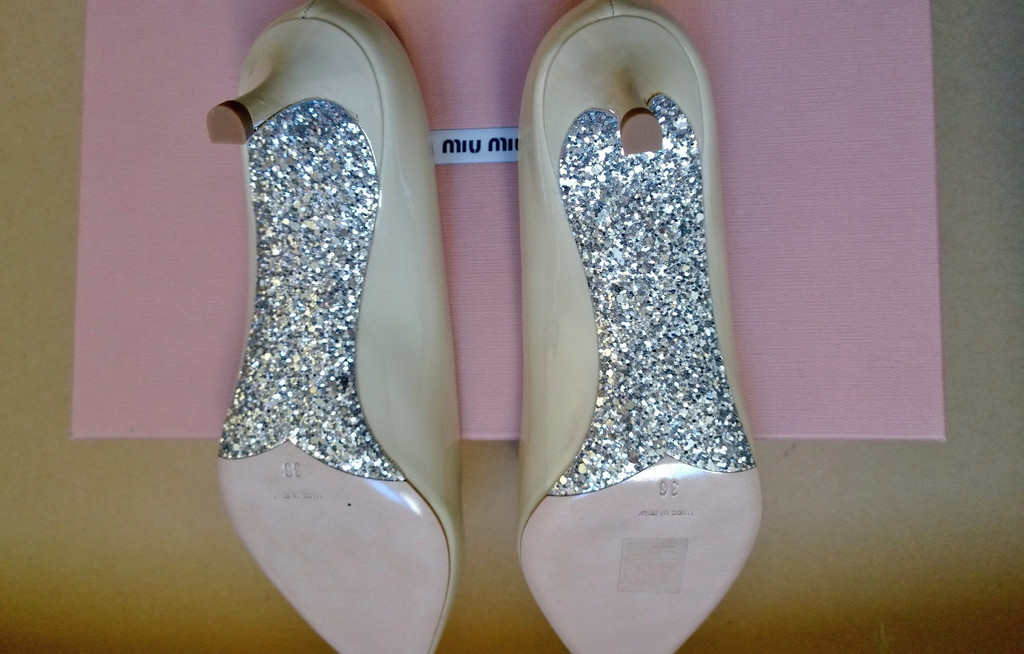 4a99af6871007 Miu Miu Cool Nude Patent Court Heels with Glitter Soles EUR 36 37 39.5 Shoes