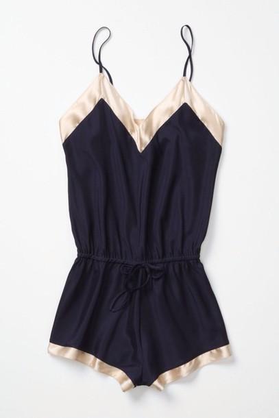 shorts lingerie dress romper silk blue gold spagetti straps shirt pajamas navy sleep white blouse pants jumpsuit romper backandgold pink black jumpsuit black romper