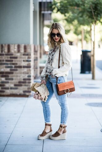 gbo fashion blogger bag shoes jeans shoulder bag fall outfits wedges