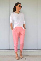 pants,top,pink pants,pink capri pants,white top,long sleeves,flats,pointed toe flats,nude flats,spring outfits,sunglasses,black sunglasses