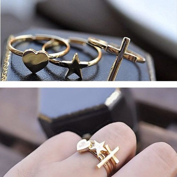 jewels ring set gold ring cross ring heart jewelry